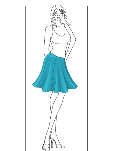 how to draw a flare skirts